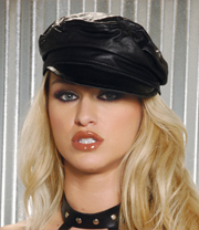 Black leather biker hat.