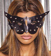 Woman with cat mask on.