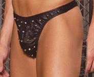 Black leather thong with studs.