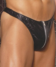 Men's leather thong with zipper.